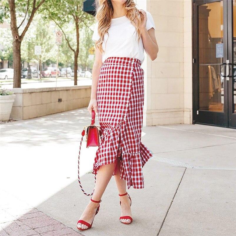 New Fashion 2018 Summer style skirts womens Plaid Casual Ruffled Button Party Slit High Waist Mid-Calf Skirt Femme Saia Y18#N (5)