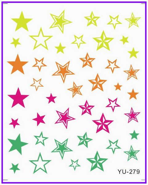 1x 물 전송 스티커 네일 스티커 데칼 grafitti 스타 다이아몬드 웨이브 레이스 키스 YU277-282