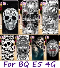 Soft TPU Cell Phone Bags Housing For BQ Aquaris E5 4G Version Cases Black &White Cool Skull Painted Wholesale Shell Cover Hood