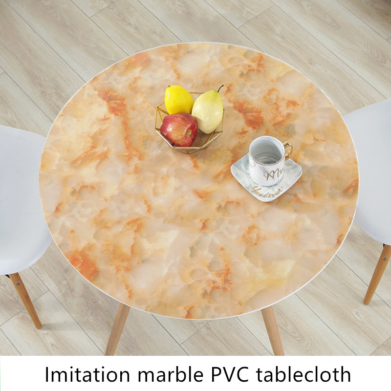 Soft plastic pvc round tablecloth Transparent Imitation marble waterproof oil proof Insulation table mat party table decoration in Tablecloths from Home Garden