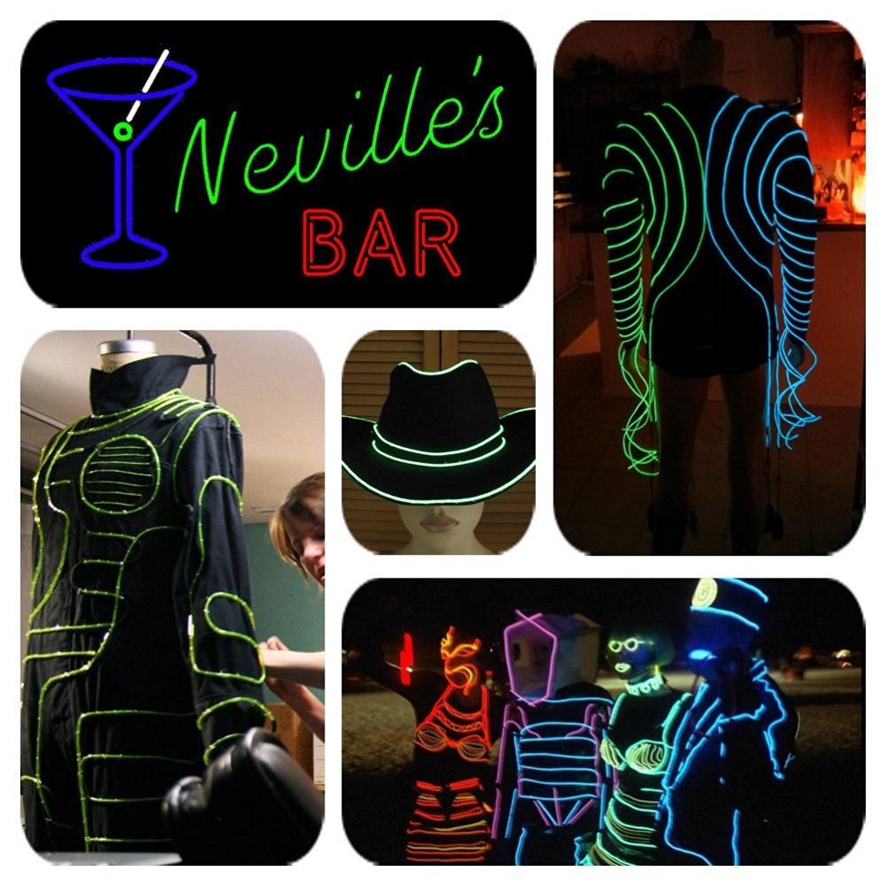 1m Flexible Neon Light El Electro Luminescent Wires Car Decoration House Club Holiday Party Decor Cosplay Dress