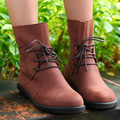 Mulheres Genuínas Ankle Boots de Couro Preto/Roxo/Brown Tactical Botas Dedo Do Pé Redondo Lace-up Flat Shoes 2015 Sapatos de inverno Da Marca (x1503)
