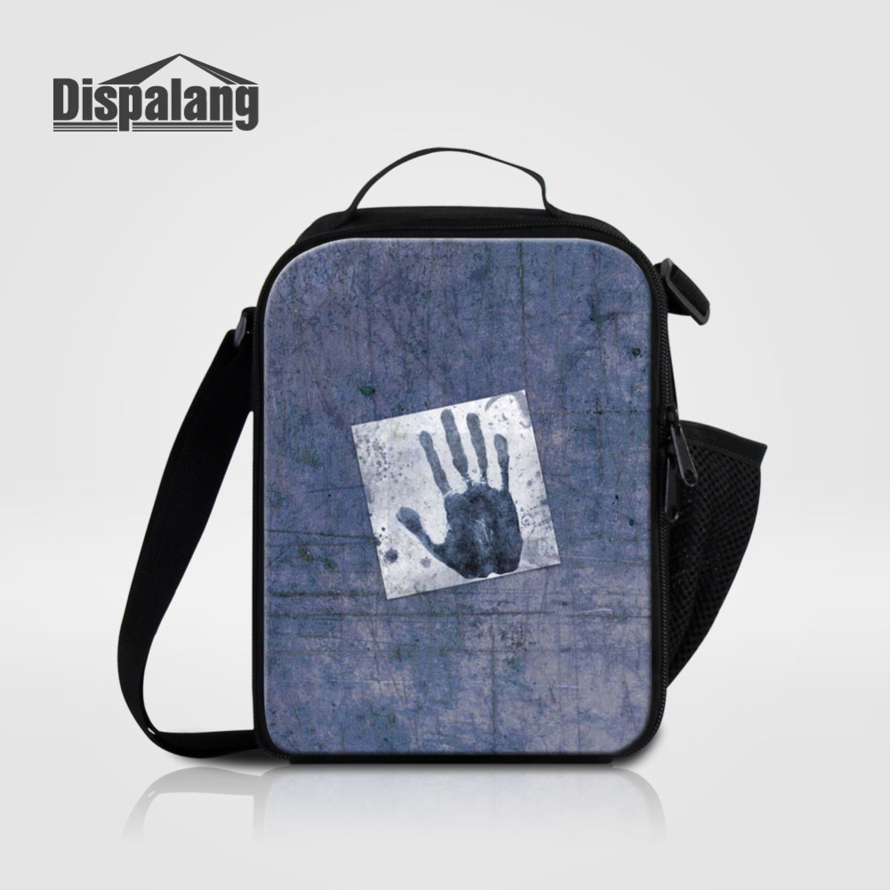 Dispalang Portable Insulated Kids Lunch Bag Handprints Thermal Food Picnic Food Bags for Women Men Cooler Lunch Box Bag Tote