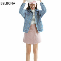 Denim Jacket Women Autumn 2018 New Vintage Hongkong Style Single Breasted Loose BF Long Sleeve Jeans Coat Female Clothes A163