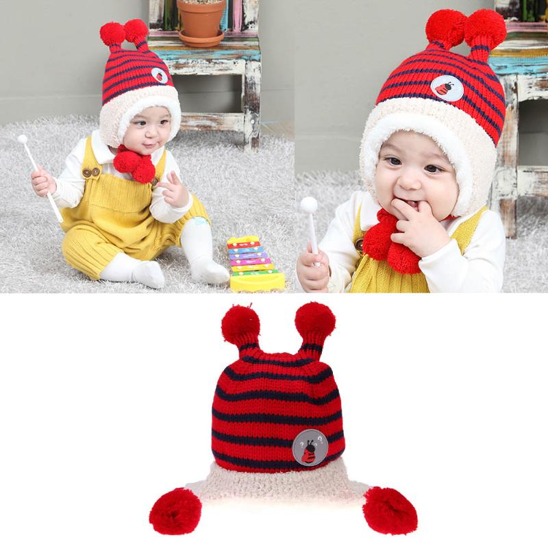 Cute Baby Winter Hat Warm Infant Beanie Cap For Children Boys Girls Striped Cute Hair Ball Kids Crochet Knitted Hat