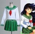 New Arrival Japanese Anime Inuyasha Kagome Higurashi Cosplay Costume Cosplay School Uniform White Blouse Green Skirt