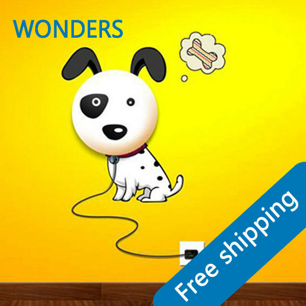 Discount  New Wallpaper Stickers Paper Wall Lamp Novelty Kid Baby Bedroom 3D Cartoon Night Light Home Decor Dog DIY BabgRoom