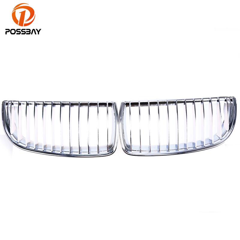 POSSBAY Chrome Silver Car Left Right Side Car Grilles With Upper Hood Eyelids For BMW 3