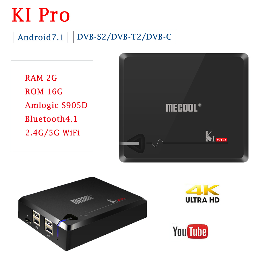 MECOOL KI Pro Android 7.1 Tv Box 2G/16G DVB-S2/DVB-T2/DVB-C HD 4K Bluetooth 4.1 2.4G/5G WiFi Smart Tv Box With Europe IPTV цена и фото
