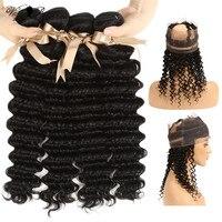 Бразильский глубокая волна Связки с 360 синтетический Frontal шнурка волос заказ с сеткой фронтальная Связки queen Virgin Remy человеческие вол