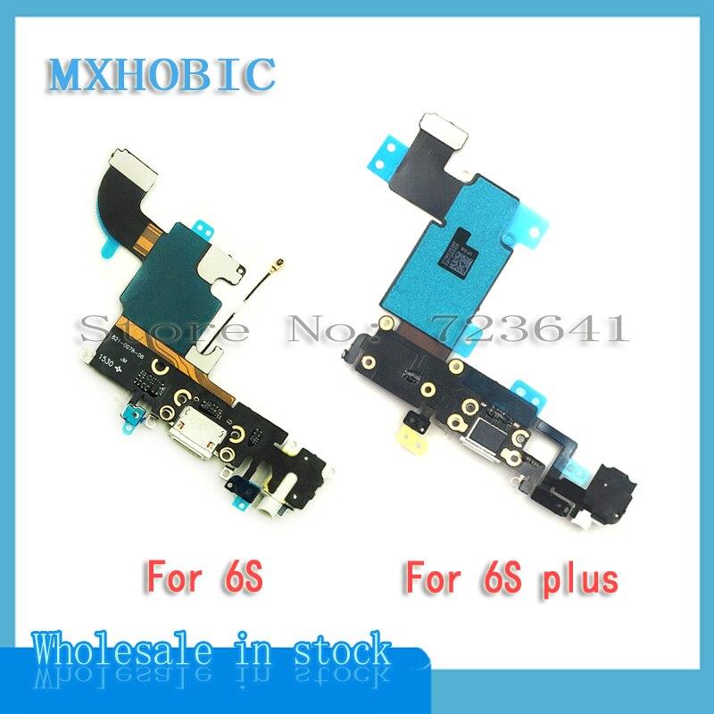 "MXHOBIC 10pcs/lot Charging Charger Port USB Dock Connector Flex Cable For iPhone 6S 4.7"" plus 5.5'' Headphone Jack Mic Ribbon"