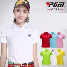 brand PGM. women's golf clothes golf T shirt short-sleeve polo shirt slim Workout Polo Shirt, Fitness Gym Sport Dri-Fit YF003