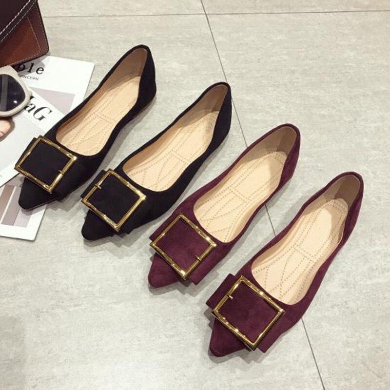 Plus Tamaño 2019 Elegante Zapatos Primavera púrpura Negro Moda Barco De Yx632 Punta Pisos Las Mujeres Planos Mujer T7UPq