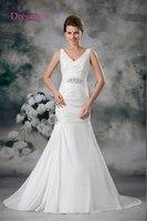 Backless Vestido De Noiva 2017 Wedding Dresses Mermaid Deep V Neck Sash Plus Size Turkey Boho