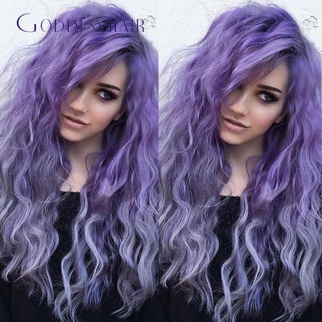 Diosa púrpura larga peluca del frente del cordón 26 inch rizado humano peluca medio parte púrpura largo rizado pelucas llenas del cordón del pelo humano para el blanco wome