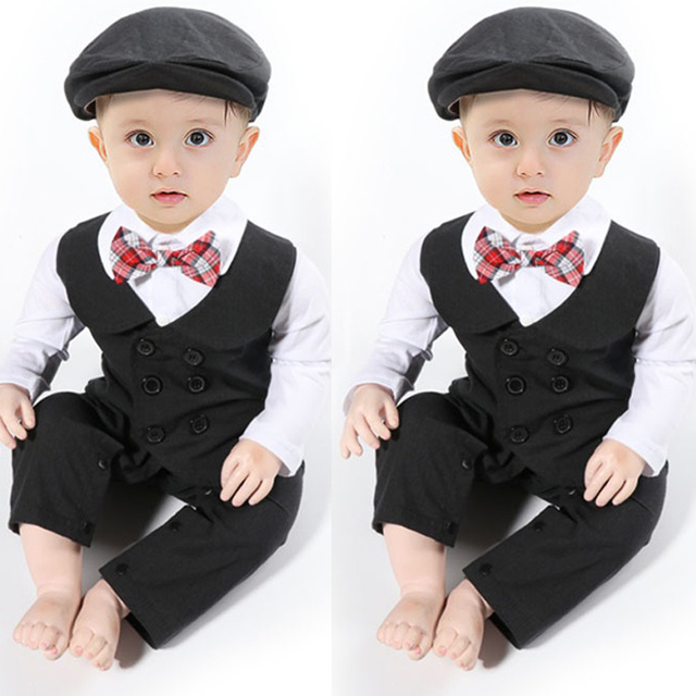 f94f867bd Baby Boy autumn Formal Suit Party Wedding Tuxedo Gentleman Romper ...