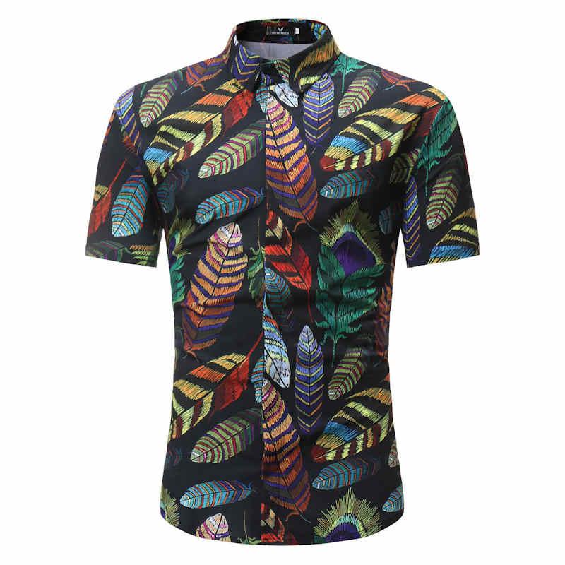 男性シャツ夏スタイルパームツビーチハワイシャツ男性カジュアル半袖ハワイシャツシュミーズオムアジアサイズ 3XL
