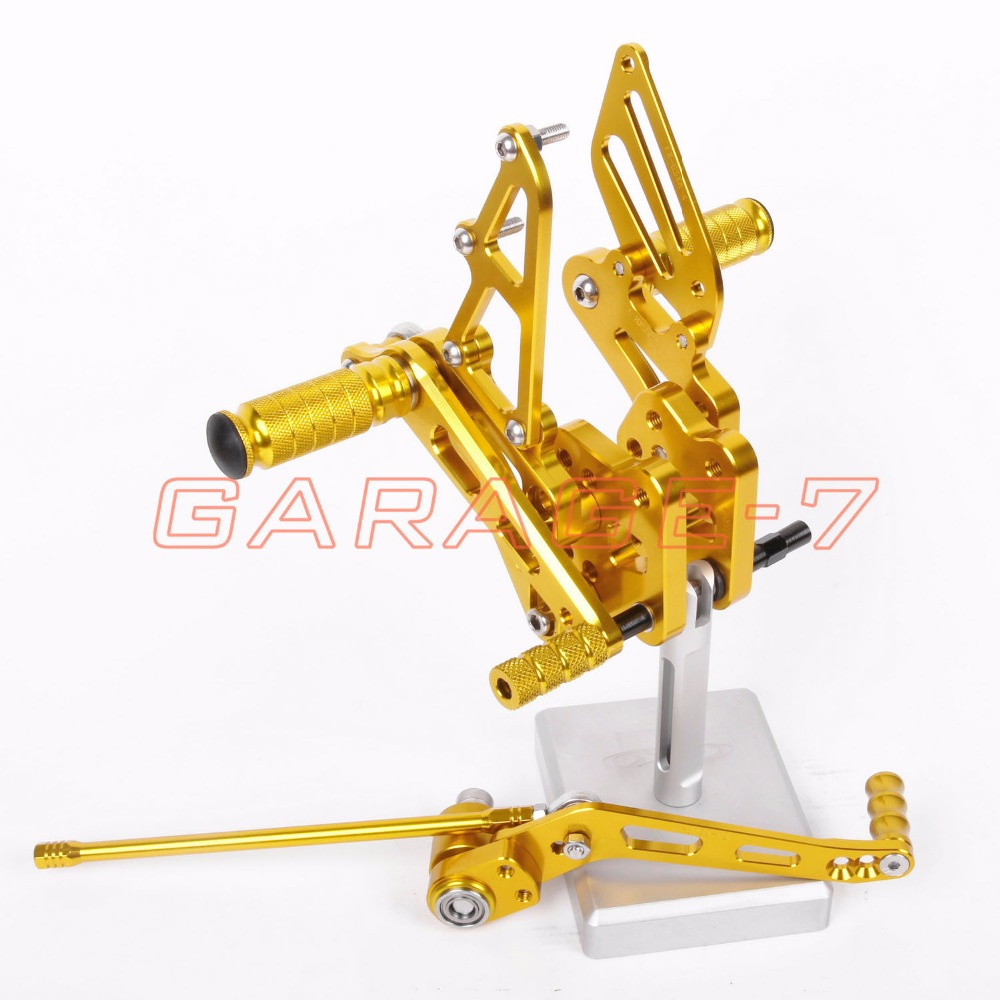 Rearsets Adjustable  Foot Pegs Rear For Suzuki GSXR 600 GSXR 750 2006-2010 Golden Motorcycle Foot Pegs Hot Sale Motorcycle CNC