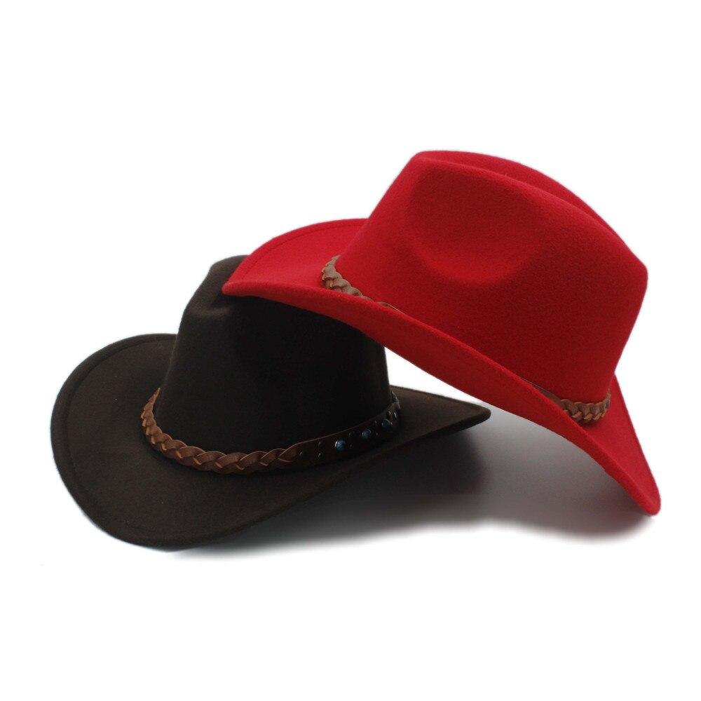 Wool Felt Western Cowboy Hat For Women Men Wide Brim Cowgirl Braid Leather Band