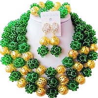 On Sale Widely Popular Dark Green Color Wonderful African Ladies Party and Festival Evening Crystal Jewelry Set 3C SJXJS 19