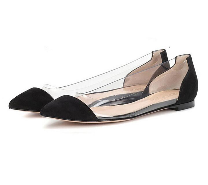 67b3b1d0c9c US $27.0 25% OFF|2019 Runway Pointed Toe PVC Women Transparent Flat Casual  Shoes Luxury Slip On Clear Ballet Shoes Women Loafers Plus Size 35 42-in ...