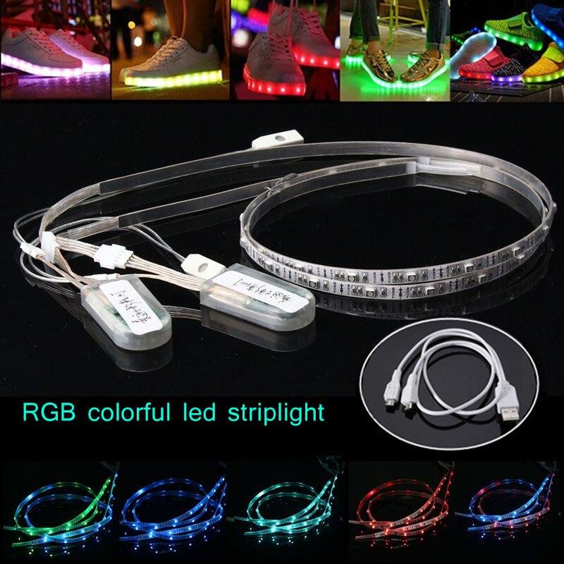 Işıklar ve Aydınlatma'ten LED Şeritler'de 2 paket 60cm esnek neon USB şarj edilebilir pil powered RGB 24 LED SMD 3528 ışık şeridi su geçirmez ayakkabı giyim parti KK title=