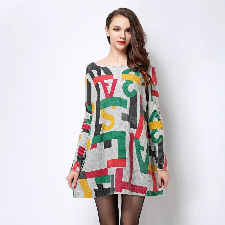 2017 New Autumn Winter Women Wool Dresses Plus Size Long Sleeves
