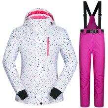 Outdoor Sports Women Ski Jacket And Pants Suit Set Windproof Waterproof Winter Sportsjacket Trousers Snowboard Mountain Clothing