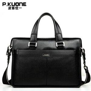 """Image 3 - Brand Design 15.6"""" Laptop Bag Natural Cowskin Mens Business Briefcase Fashion Genuine Leather Shoulder Messenger Bags"""