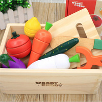 Wooden Pretend Play kitchen toys Educational early Simulation fruit cut to watch the game vegetables cut kitchen set for kids