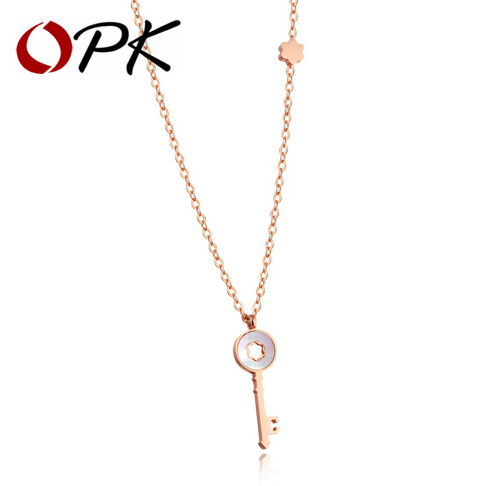OPK Vintage Key Necklaces Rose Gold / White Color Inlaid Shell Color Resin 40 To 46 CM Long Birthday Party Gift GX1227