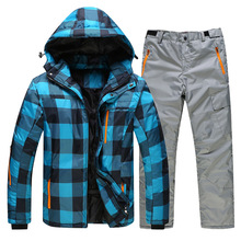 Winter male ski suits jacket+pants Men waterproof,breathable thermal cotton-padded super warm snow jacket suits