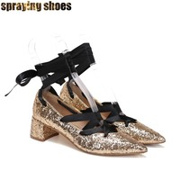 Gold/Silver Sequins Heels Women Pointed Toe Strappy Pumps Chunky Heel Ballet High Heels