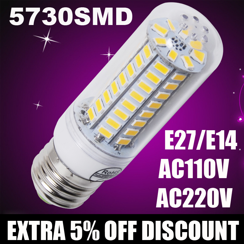 220V 110V <font><b>led</b></font> corn bulb E27 <font><b>E14</b></font> <font><b>Led</b></font> <font><b>Lamps</b></font> <font><b>led</b></font> corn bulb light 5730 Chandelier Candle Lighting <font><b>LED</b></font> Lights Corn Bulb image