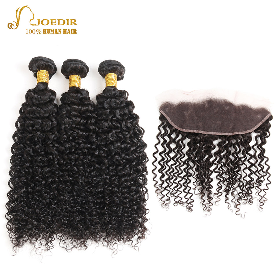 Malaysian Hair Kinky Curly Bundles With Frontal Ear To Ear Lace Frontal Closure With Bundles Human Hair Weave Joedir Non Remy