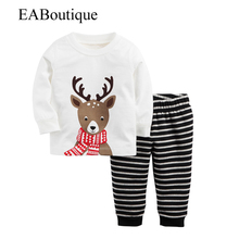 EABoutique 2016 Winter New Fashion little helper Reindeer printed with striped pants long sleeve christmas pajamas