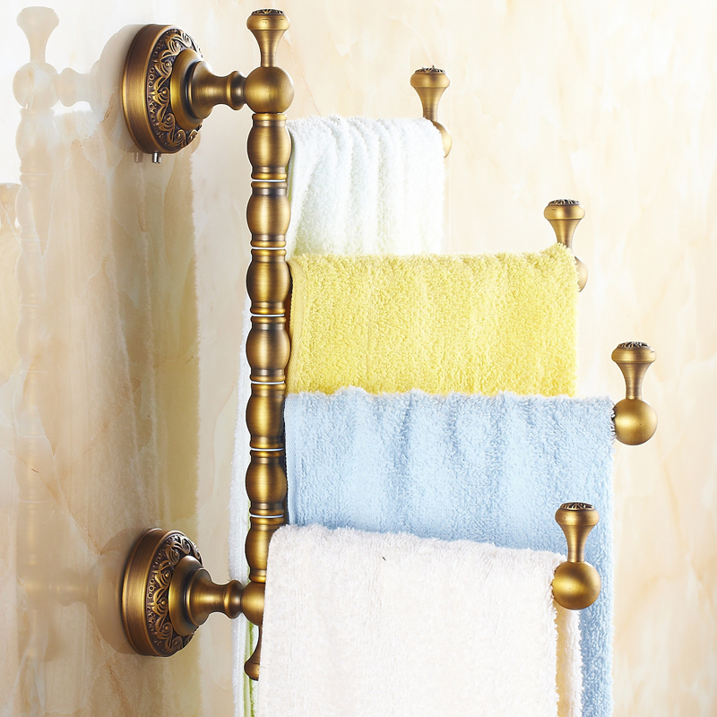 European Bronze Rotary Towel Rack Antique Carved Copper Brushed Towel Holder/towel Bar Wall Mount Bathroom Accessories A35 european copper gold towel rack toilet towel bar bathroom antique rotary towel bar antique activities towel 3 bar f91381