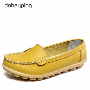 Image 3 - Casual Shoes Women Soft Genuine Leather Womens Loafers Slip On Womans Flats Shoe Low Heel Moccasins Footwear Large Size 35 42