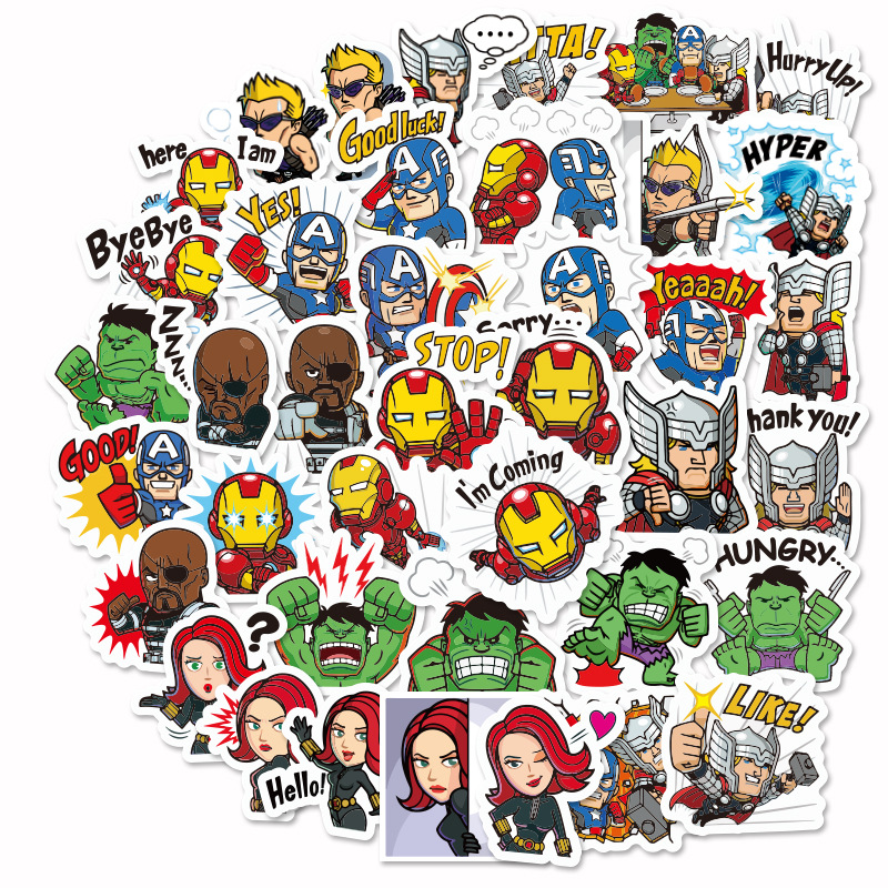 40 Pcs/pack The Avengers Iron Man Captain Thor Decorative Stickers Adhesive Stickers DIY Decoration Diary Stationery Stickers