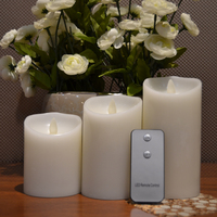 Set Of 3 Luminara Flameless Wax Candle Ivory Color Dancing Flame Timer Remote Included 3 4
