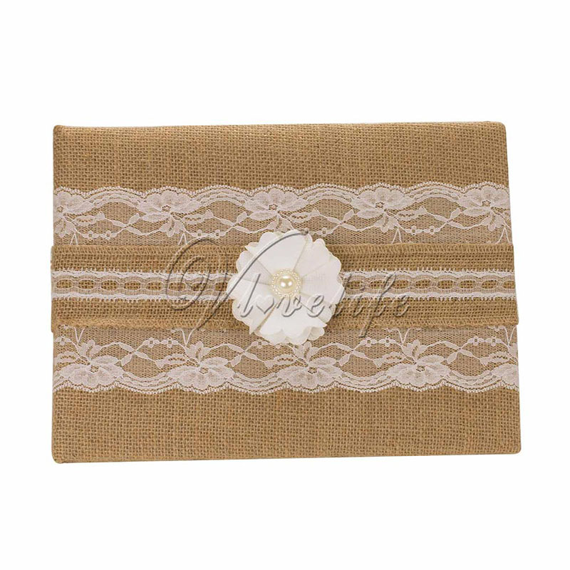 Party Favor Ideas For Wedding Reception: Vintage Burlap Wedding Guest Book With Flowers Pearl For