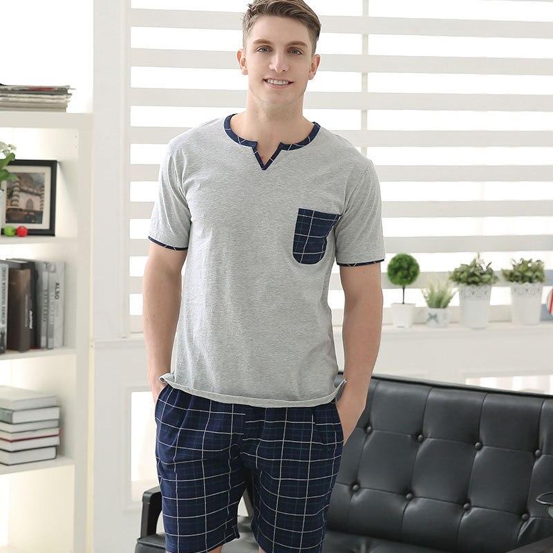 Summer Mens sheer pajamas short sleeved knit cotton new men's ...