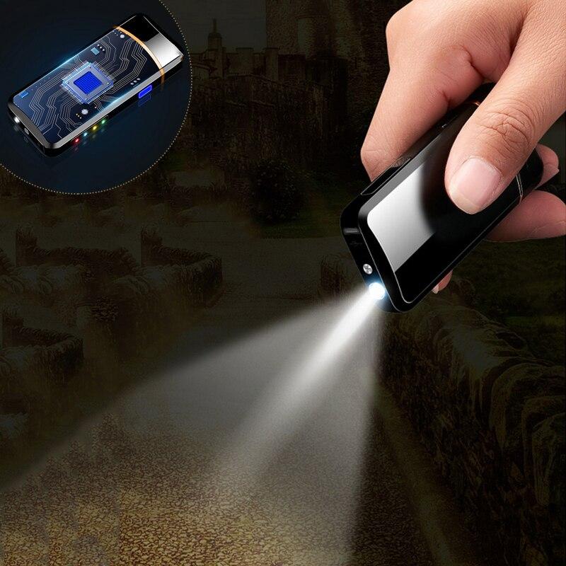 Двухдуговая Электронная Зажигалка USB металлическая перезаряжаемая ветрозащитная беспламенная электрическая зажигалка плазменная Зажига...