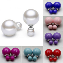 925 Sterling Silver Double Face Sided Women Round South Sea Shell Pearl Earring
