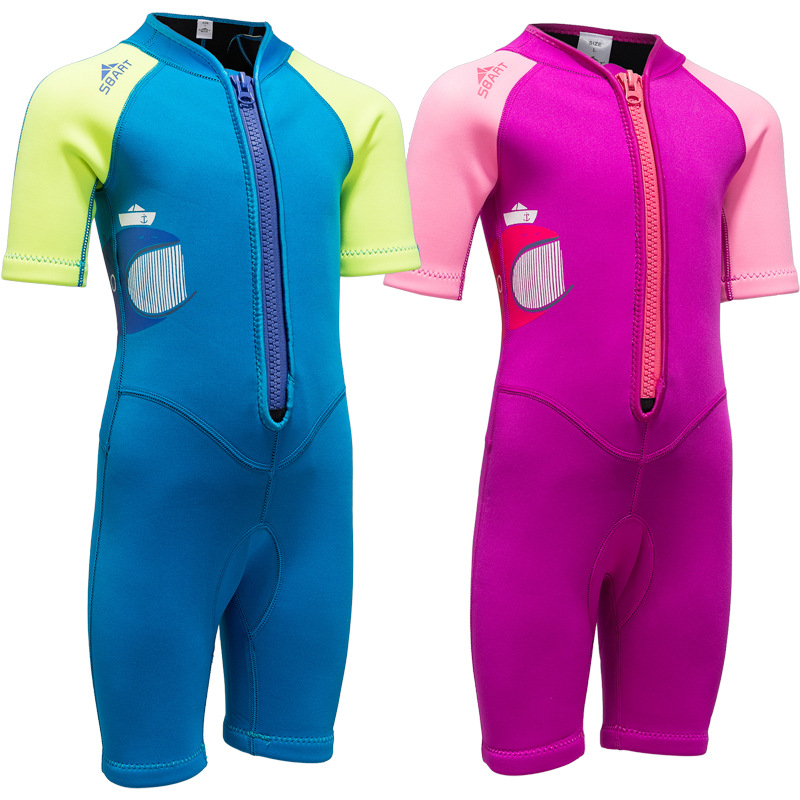 2MM Neoprene Wetsuits Kids Swimwears Diving Suits Short Sleeves Boys Girls Surfing Children Rash Guards Snorkel One Piece Suit