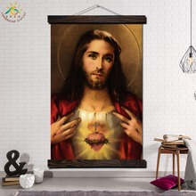 Mary Sacred Heart Jesus Modern Wall Art Print Picture And Poster Frame Hanging Scroll Canvas Painting Home Decor