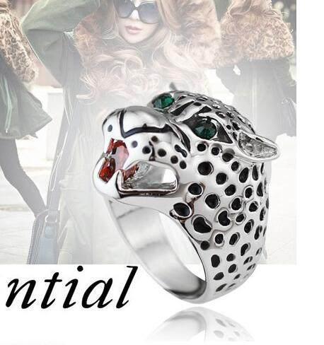 line Shop White Gold Color Unique Design Crystal Leopard Ring