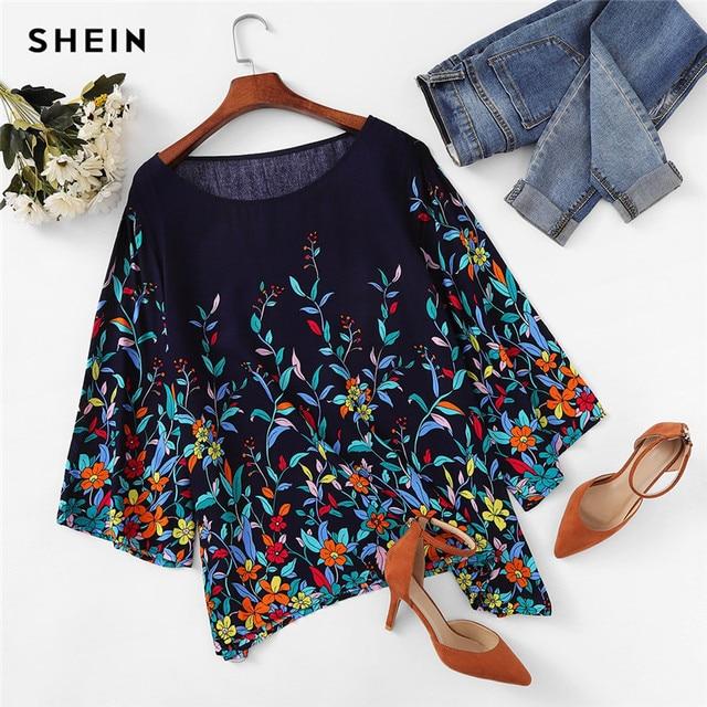 SHEIN Floral Print Navy Plus Size Round Neck Casual Women Blouse 2018 New Three Quarter Sleeve Botanical Print Rayon Blouses 3