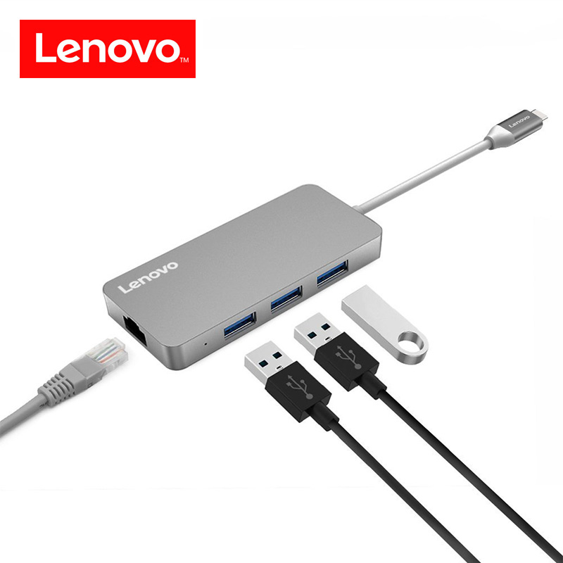 Lenovo Original 4 in 1 Type C Hub RJ45 Lan Network Ethernet USB C Hub Adapter USB 3.0 Port Data Transfer for Macbook Laptop etc. сетевая карта для сервера hp ethernet 1gb 4 port 331flr adapter 629135 b22