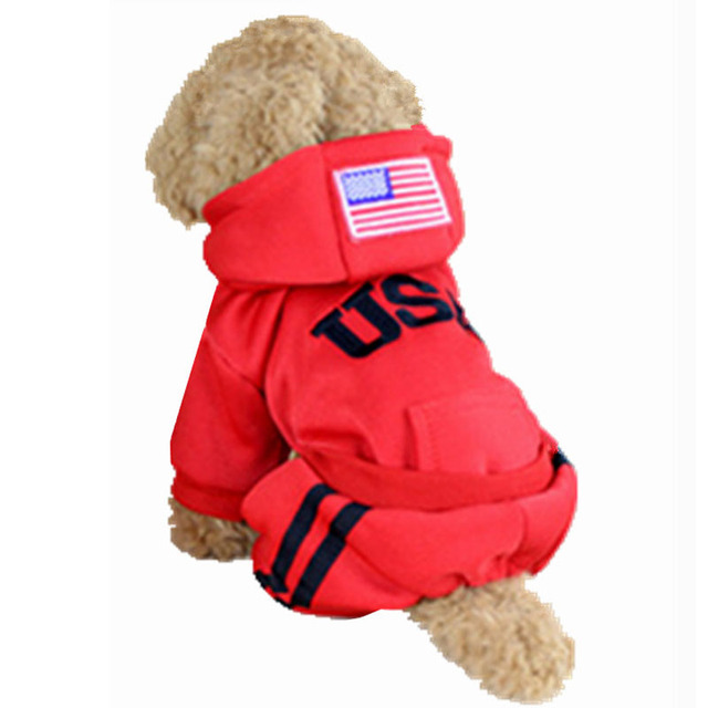 100% Cotton USA Winter Dog  Jumpsuit With Hoodie